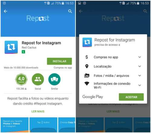 repost for instagram instalar