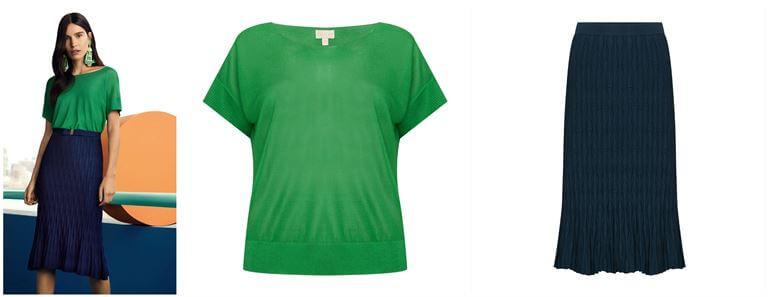 blusa verde tricô saia barra peplum azul