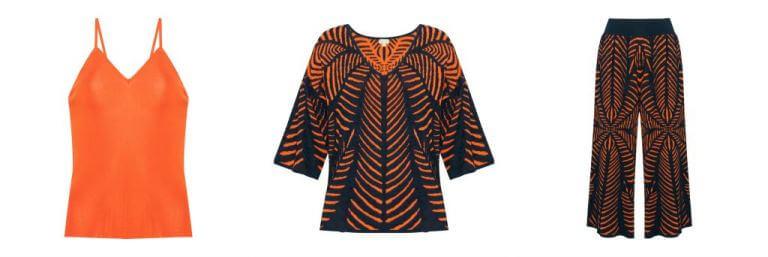 blusa azul e laranja estampada