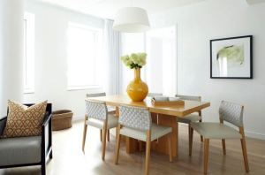 yellow-vase-modern-dining-room-table-woven-chair-cococozy-attic-fire