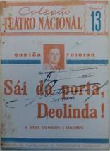 """Capa da peça teatral """"Sai da porta, Deolinda!"""" de Gastão Tojeira. Rio de Janeiro, 1943. Coleção Serviço e Censura das Diversões Públicas."""