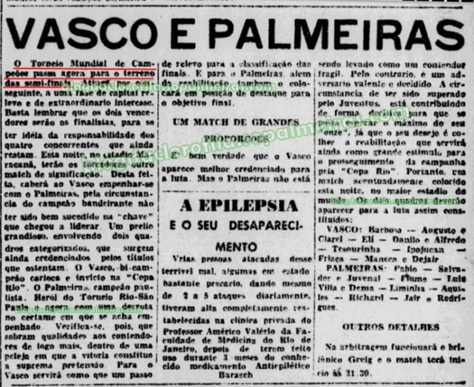 """PALMEIRAS CAMPEÃO DO MUNDO… ERA A COPA QUE FICAVA – Parte VIII  """"Buscando vaga num sonho"""""""