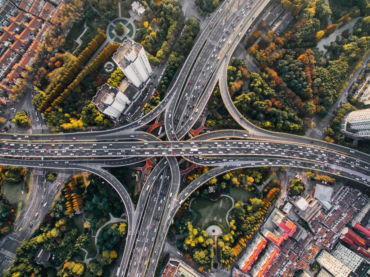 aerial photography of concrete roads
