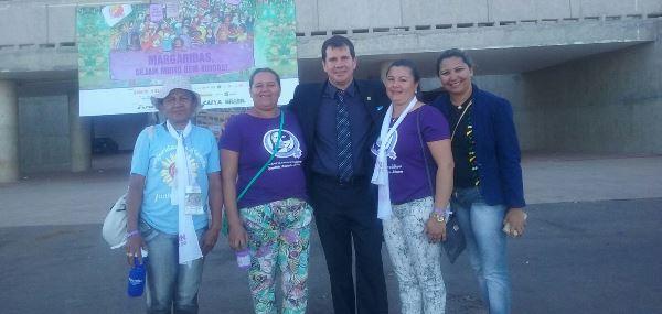 Vice-prefeito Percivaldo com representação de Poço Branco na Marcha das Margaridas