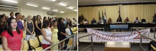 Sessão Solene na Câmara com muita homenagens no encerramento da programçaõa alusiva aos 20 anos do Colégio Júnior Souza
