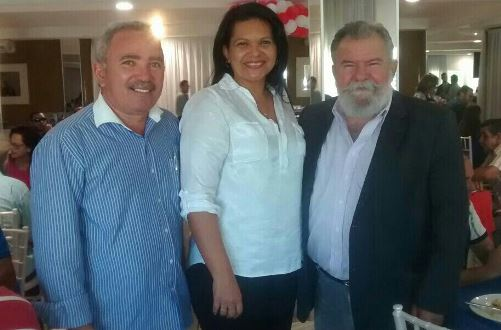 Vereador Mestre Raimuno, Emília Vieira e Betinho Rosado no encontro estadual do PP