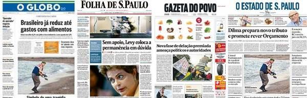 Manchetes dos principais jornais do dia
