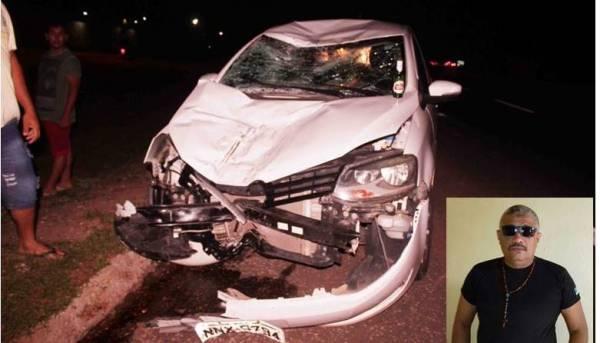 Ex-policial Francisco de Andrade Neto, morre vítima de acidente de transito na BR 304 - Carro ficou com a frente destruida