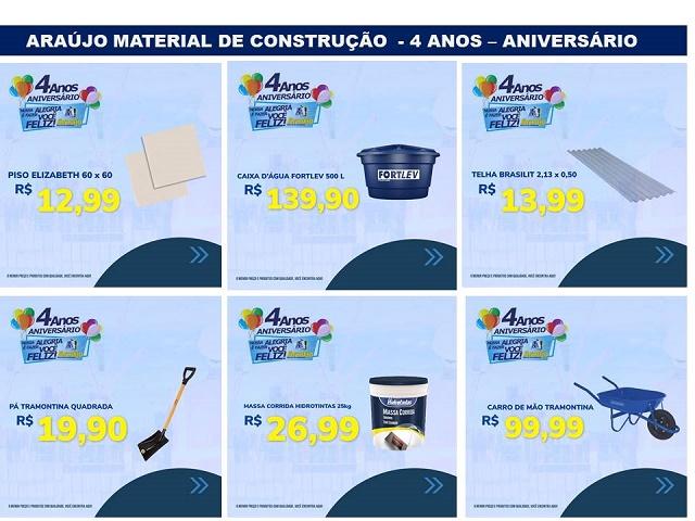 Resultado de imagem para Araújo Material de Construção continua com as ofertas do mês de aniversário