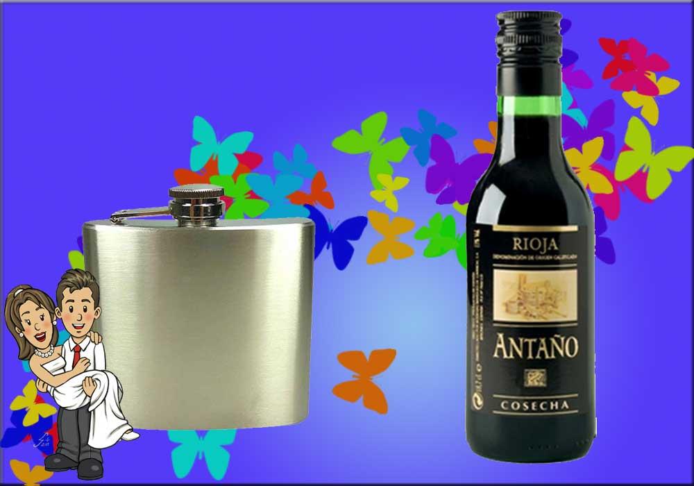 Petaca y botella de vino: dos buenos regalos de boda para hombres