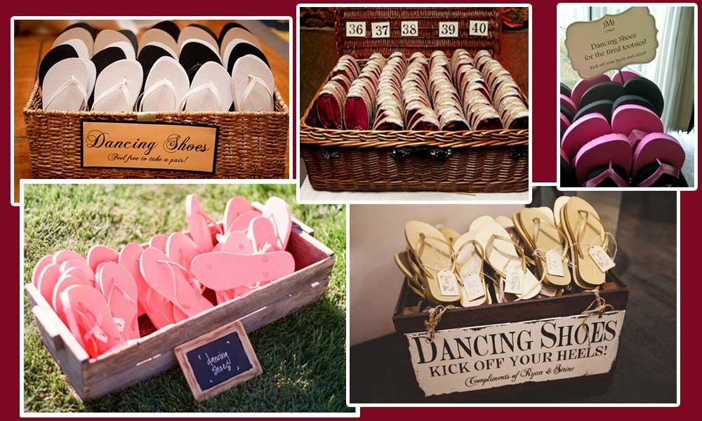 Cómo presentar las chanclas a tus invitadas en la boda.