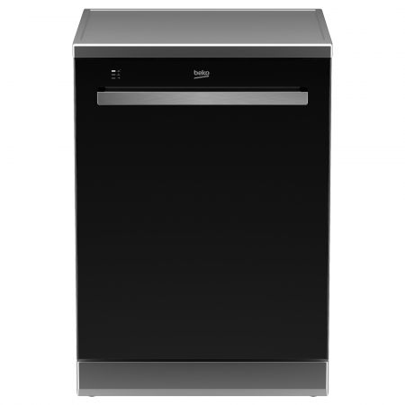 Masina de spalat vase Beko DEN28320GB, 13 seturi, 8 programe, Afisaj LCD, Clasa A++, 60 cm, Usa sticla, Negru