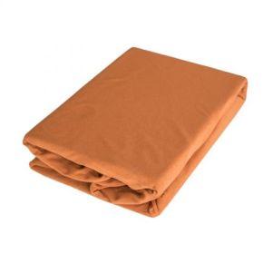 Cearceaf cu elastic Gecor, jersey, 90x200 cm, maro