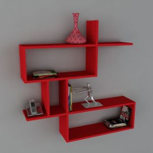 Raft de perete Wooden Art, 100 x 107,2 x 22 cm, Red