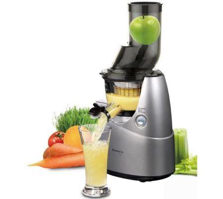 Storcator de fructe si legume cu melc Kuvings B6000S, 240 W, 60 RPM, Recipient suc 0.4 l, 1 Viteza, Functie Reverse, Tub de alimentare 75 mm, Argintiu