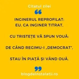 """Inginerul reprofilat Eu, ca inginer titrat, Cu tristețe vă spun vouă_ De când regimu-i """"democrat"""", Stau în piață și vând ouă."""