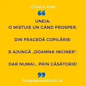 """Uneia O mistuie un gând prosper, Din fragedă copilărie_ S-ajungă """"doamna inginer"""", Dar numai… prin căsătorie!"""