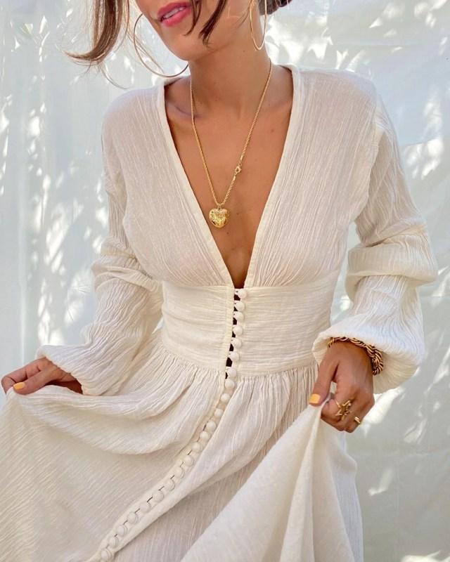 vestido escote largo