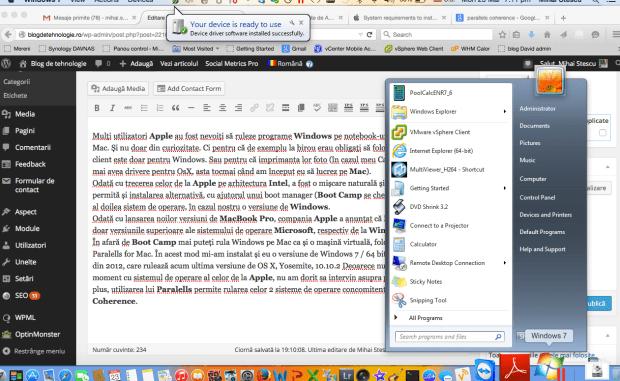 Windows 7 pe MacOS X cu Paralells