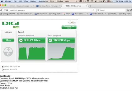 Test viteza wifi Synology