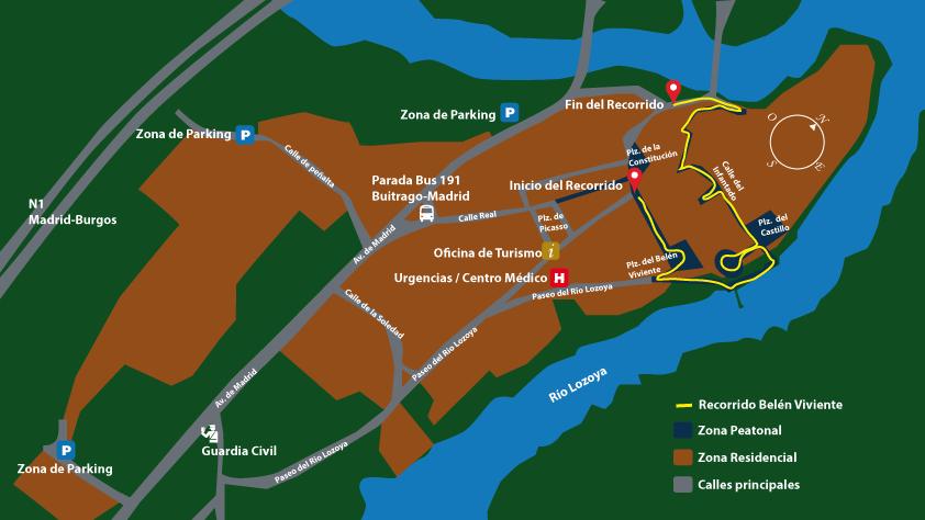 mapa del recorrido del belén viviente de Buitrago de Lozoya