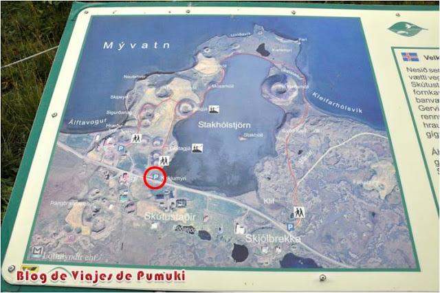 Pseudo-cráteres de Stakhólstjörn en lago Mývatn