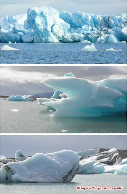 Las formas y colores del hielo de los icebergs generan un paisaje espectacular