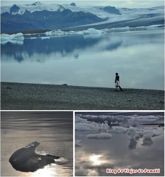 Reflejos y sombras de hielo al atardecer en Jokusarlón, Islandia