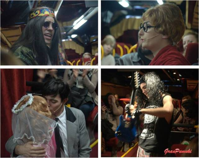 Escenas de la representación de teatro a bordo del Teatro Bus en Madrid. Para pasar un rato entretenido en familia o tras una jornada de turismo por la ciudad