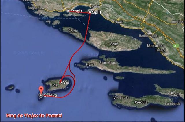 Mapa de la excursión en lancha rápida a Vis y Bisevo, Croacia