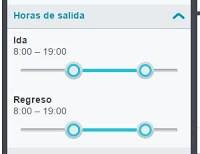 Filtro de horarios de Skyscanner activado