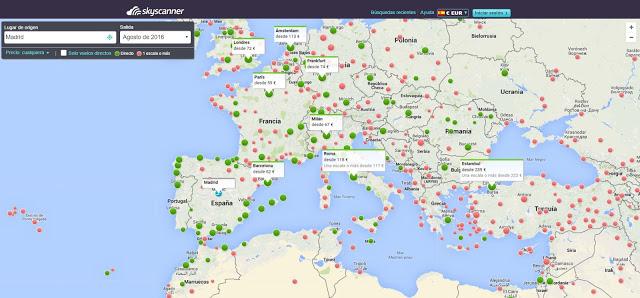 Planificacion del viaje con el mapa de Skyscanner