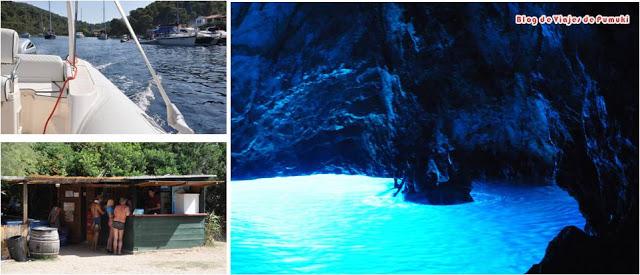 Vis y a la Cueva Azul en Bisevo en una excursion en lancha rápida viajando por Croacia con niños