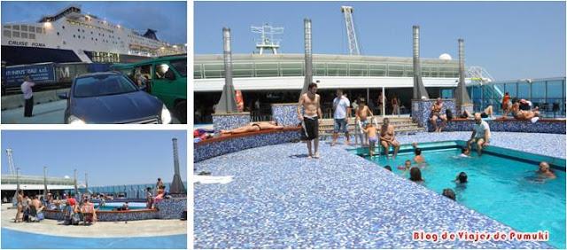 Viaje en Ferry Barcelona a Civitavechia en Grimaldi Lines. Viaje en coche con niños desde España a Italia