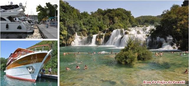 Cascada en el Parque Natural Krka, cerca de Sivenik en Croacia. Excursión para bañarse con los niños en una cascada