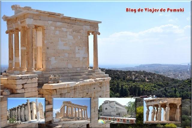 Vistas de Atenas desde el templo de Atenea Nike, en la Acrópolis,