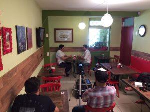 Gravação da entrevista, no Restaurante Café 17, no prédio da Rádio Sanhauá, Centro Histório de João Pessoa