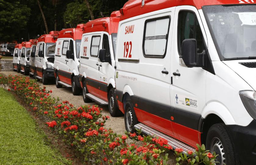 Imagem ilustrativa de ambulâncias do Samu