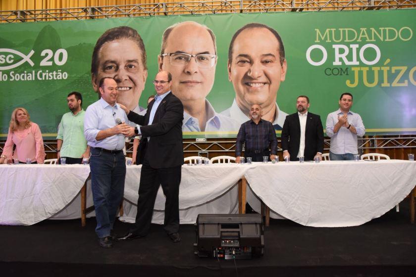 Pastor Everaldo e Wilson Witzel durante lançamento da candidatura em 2018