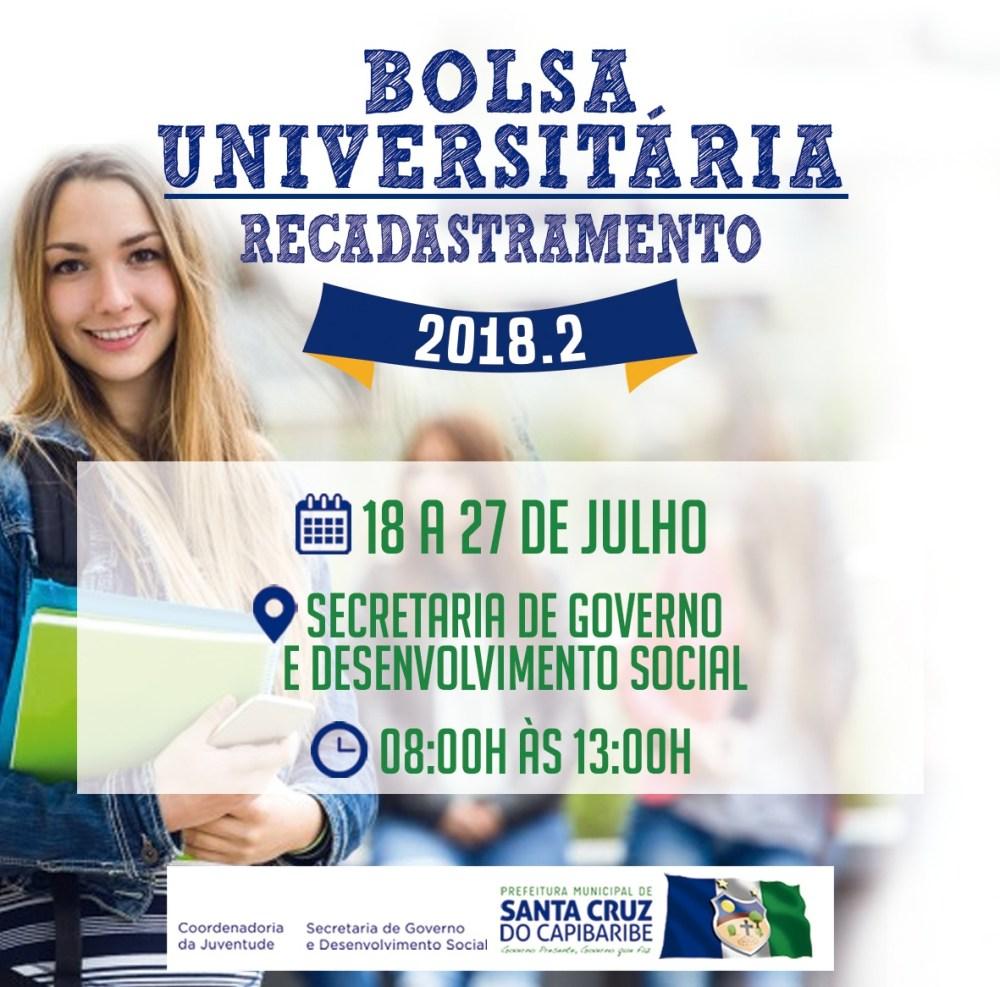 Recadastramento do Bolsa Universitária em Santa Cruz do Capibaribe