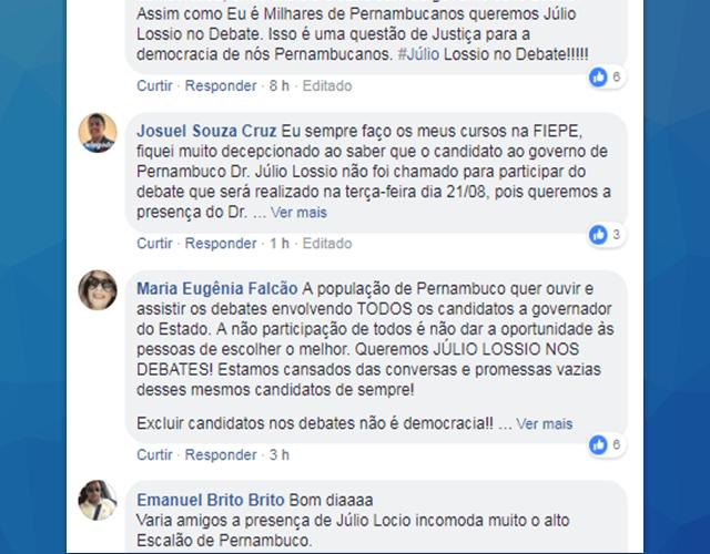 Internautas pressionam FIEPE e pedem presença de Júlio Lóssio em debate