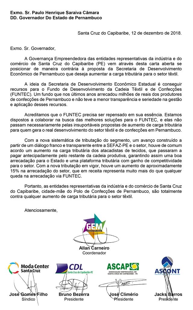 Moda Center: Carta ao Governo do Estado de Pernambuco