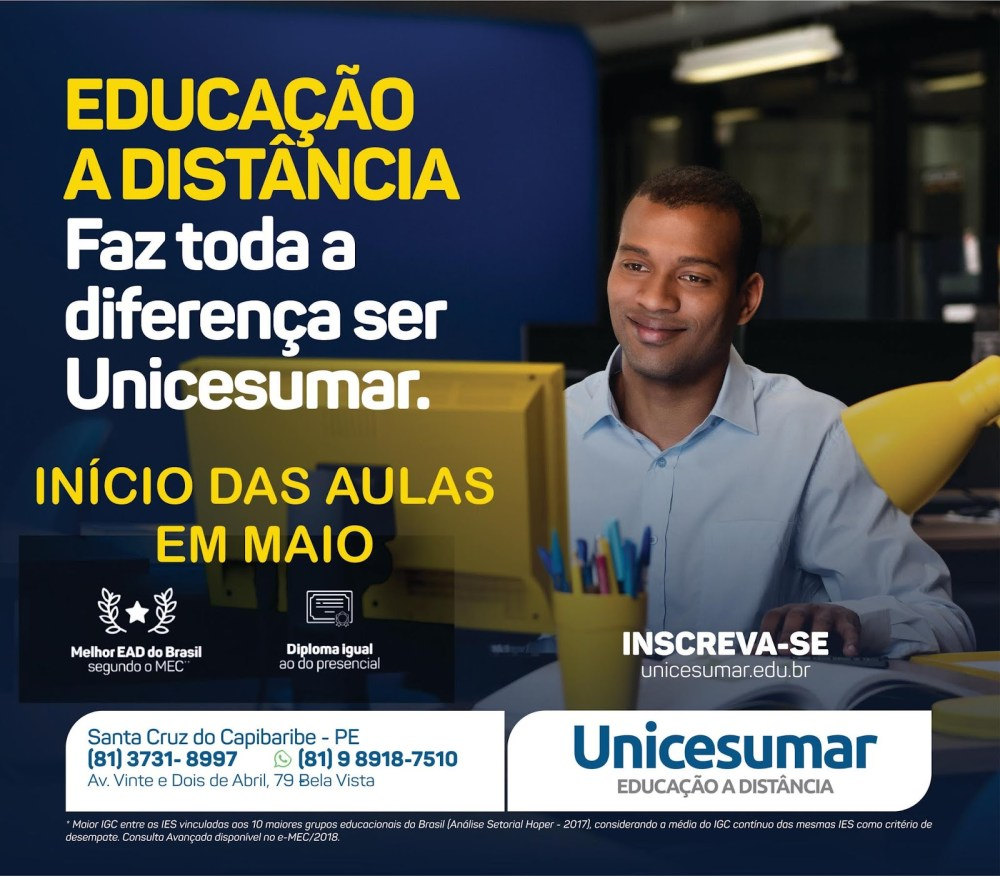 Continuam abertas as inscrições para o Vestibular 2019.2 da Unicesumar Polo Santa Cruz do Capibaribe