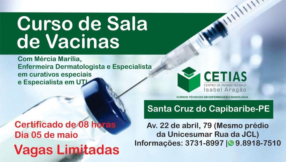 CETIAS abre inscrições para curso de Sala de Vacinas