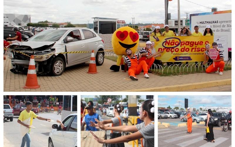 Ações do Maio Amarelo conscientizam motoristas no Moda Center