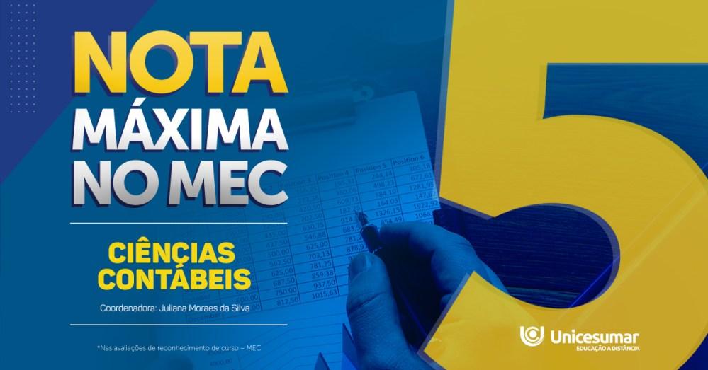 Curso de Ciências Contábeis da Unicesumar é aprovado pelo MEC com nota máxima