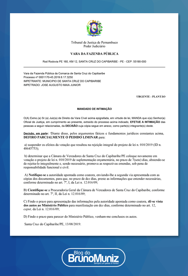 Suplementação – Juiz suspende votação de PL que havia sido rejeitado e pede nova avaliação pelo Legislativo