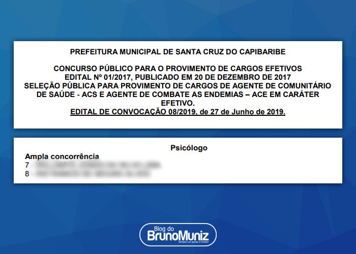 Prefeitura de Santa Cruz do Capibaribe convoca profissional ignorando classificação geral de concurso público