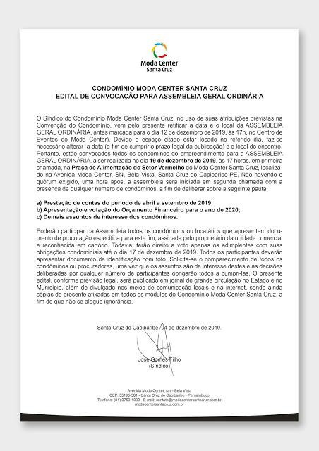 Retificação de edital de convocação de assembleia geral ordinária