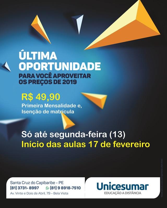 Faculdade Unicesumar lança promoção relâmpago com 1ª mensalidade por 49,90 em qualquer curso